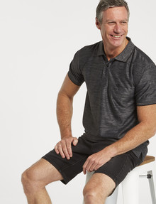 Chisel Quick-Dry Textured Short-Sleeve Polo, Charcoal product photo