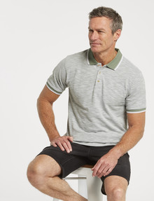 Chisel Tipped Short-Sleeve Polo, Sage product photo