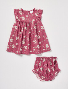 Teeny Weeny Floral Frill Dress & Bloomer Set, Elderberry product photo