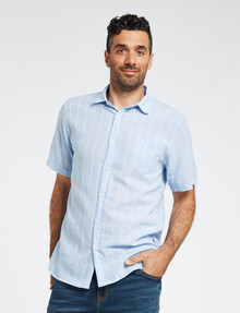 Chisel Yarn Dyed Check Linen-Blend Short-Sleeve Shirt, Blue product photo