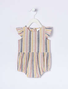 Teeny Weeny Linen-Blend Stripe Frilled Romper product photo