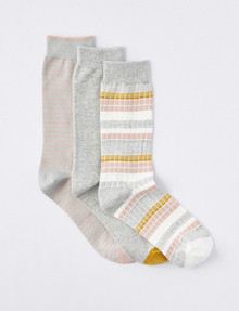 Simon De Winter BCI Crew Sock, Light Grey/Misty Rose/Ivory product photo