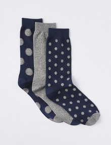 Simon De Winter BCI Crew Sock, Navy/Stone Spot product photo