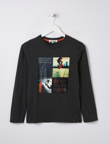 No Issue Skate Print Long-Sleeve Tee, Charcoal Marle product photo