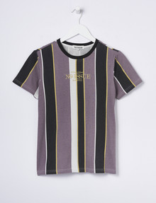 No Issue Vertical Stripe Short-Sleeve Tee, Washed Purple product photo