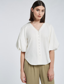 State of play Beau Linen-Viscose Blouse, White product photo