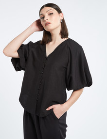 State of play Beau Linen-Viscose Blouse, Black product photo