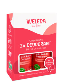 Weleda Pomegranate Deodorant 24hr Roll-On, 2-Pack product photo
