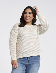Studio Curve Knitted Ladder-Stitch Jumper, Ivory product photo
