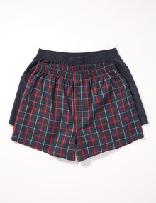 Chisel Cotton Boxer, 2-Pack, Navy & Red product photo