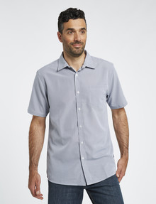 Chisel Short Sleeve Soft Touch Shirt, Micro Check White product photo