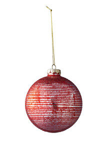 Home Of Christmas Glass Mercury Bauble with Red Stripe product photo