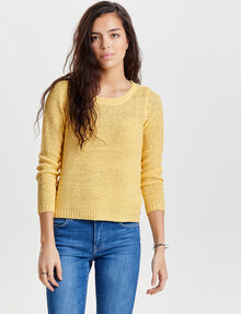ONLY Geena Xo Long-Sleeve Knit Pullover, Pale Banana product photo