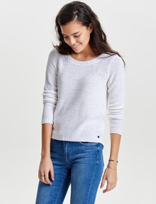 ONLY Geena Xo Long-Sleeve Knit Pullover, White product photo