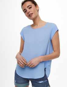 ONLY Vic Short-Sleeve Top, Blue product photo