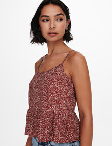 ONLY Bella Life Short Strap Top, Roasted Russet product photo