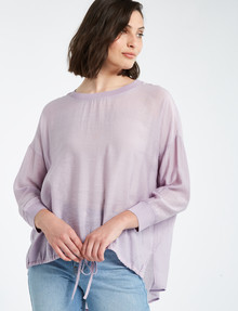 Mineral Alfie Drawstring Woven Tee, Lavender product photo