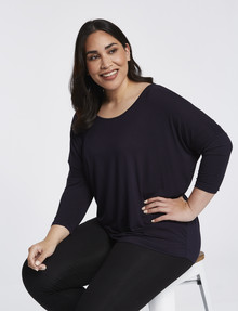 Bodycode Curve Batwing 3/4 Sleeve Top, Eclipse product photo
