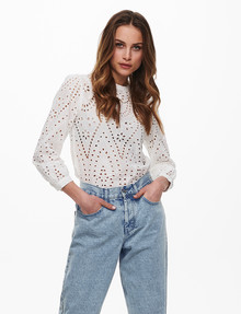ONLY Nyla Embroidery Anglaise Blouse, Cloud Dancer product photo