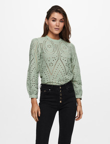 ONLY Nyla Embroidery Anglaise Blouse, Desert Sage product photo