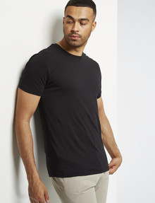 L+L Short-Sleeve Combed Cotton Tee, Black product photo