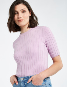 Mineral Huxley Cotton-Cashmere Rib Tee, Lilac product photo