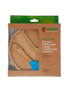 Munch Eco Baby Suction Plate & Spoon, Blue product photo
