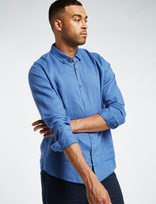 Gasoline Long-Sleeve Solid Linen Shirt, Mid Blue product photo