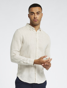 Gasoline Long-Sleeve Solid Linen Shirt, Sand product photo