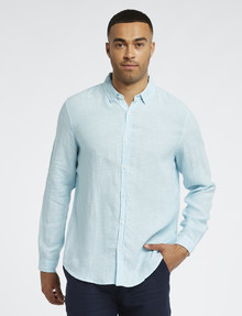 Gasoline Long-Sleeve Solid Linen Shirt, Mint product photo