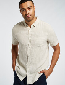 Gasoline Short-Sleeve Solid Linen Shirt, Sand product photo