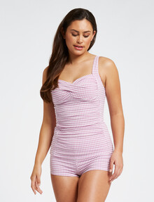 Zest Resort Sally Tankini Top, Lilac Gingham product photo