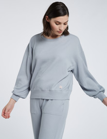 Mineral Lounge Waffle Crew Sweater Dusty, Dusty Blue product photo