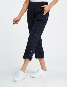Ella J Panelled Pull-On Roll-Up Pant, Navy product photo