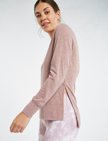 Superfit Long Sleeve Crew-Neck Top, Plum Marle product photo