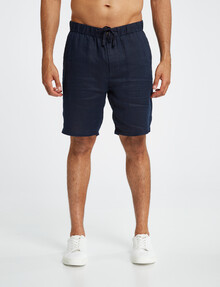 Gasoline Solid Linen Short, Navy product photo