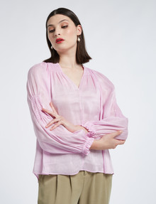 State of play Remy Linen-Silk Blouse, Lily Pink product photo