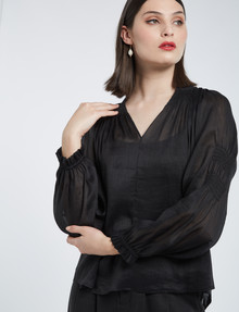State of play Remy Linen-Silk Blouse, Black product photo