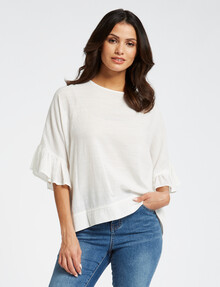 Whistle Ruffle Top, Ivory product photo