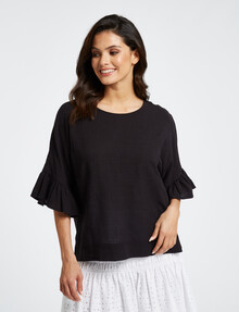 Whistle Ruffle Top, Black product photo