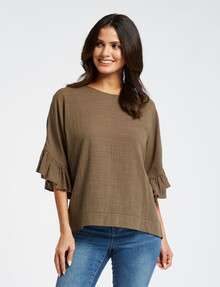 Whistle Ruffle Top, Sage product photo