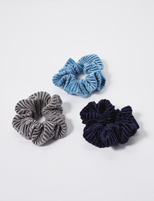 Whistle Indi Pleated Scrunchie, 3-Pack, Blue & Grey product photo
