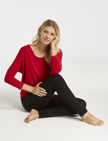 Bodycode 3/4 Batwing Sleeve Top, Red product photo