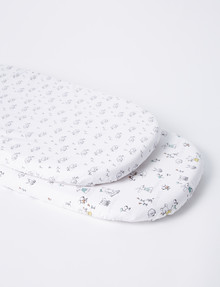 Teeny Weeny Animal Friends Bassinet Fitted Sheet, Set-of-2 product photo