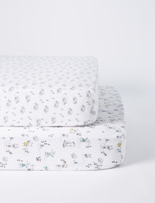 Teeny Weeny Animal Friends Cot Fitted Sheet, Set-of-2 product photo