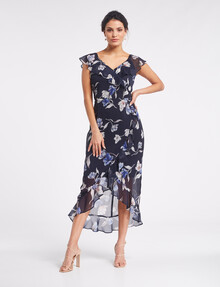 Whistle Occasion Ruffle Dress, Navy Floral Bloom product photo