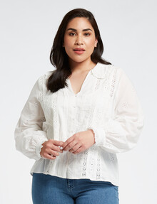Studio Curve Embroidered Collar Long-Sleeve Shirt, White product photo