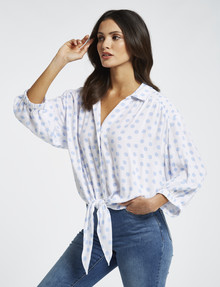 Whistle 3/4 Tie Front Shirt, Blue Polka Dot product photo
