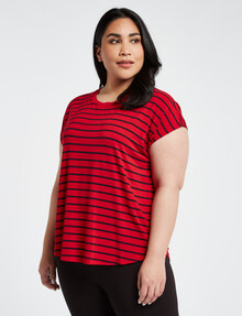 Bodycode Curve Stripe Boxy Tee, Red & Navy product photo