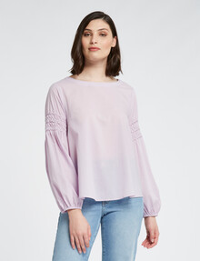 Mineral Beth Cotton Blouse, Lavender product photo